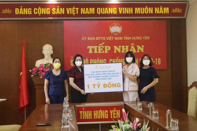 MIAN Group ủng hộ đợt 2 số tiền 1 tỷ đồng cho Qũy phòng chống Covid-19 tỉnh Hưng Yên